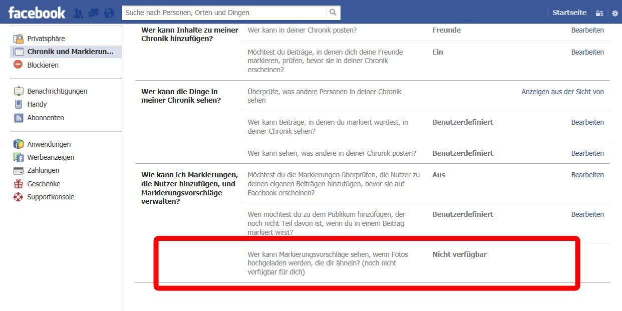 Automatische Gesichtserkennung auf Facebook