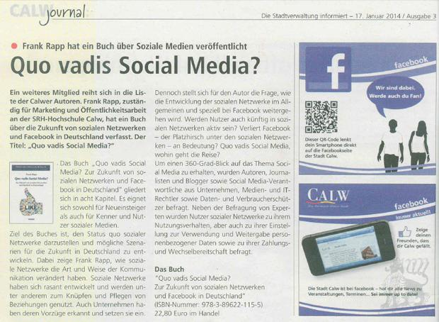 Artikel im Calw Journal - Quo vadis Social Media?